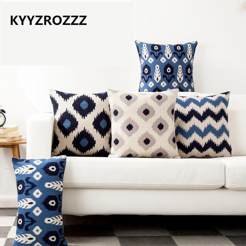 Nordic Color Geometry Blue Stripe One Side Printing Home Decor Sofa Car Seat Decorative Cushion Cover Pillow Case Capa Almofada