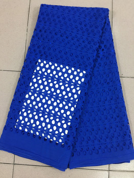Polish Lace Fabric High Quality For Men Blue Soft Swiss Voile Lace In Switzerland Nigerian Dry Swiss Voile Lace Material PS157-1