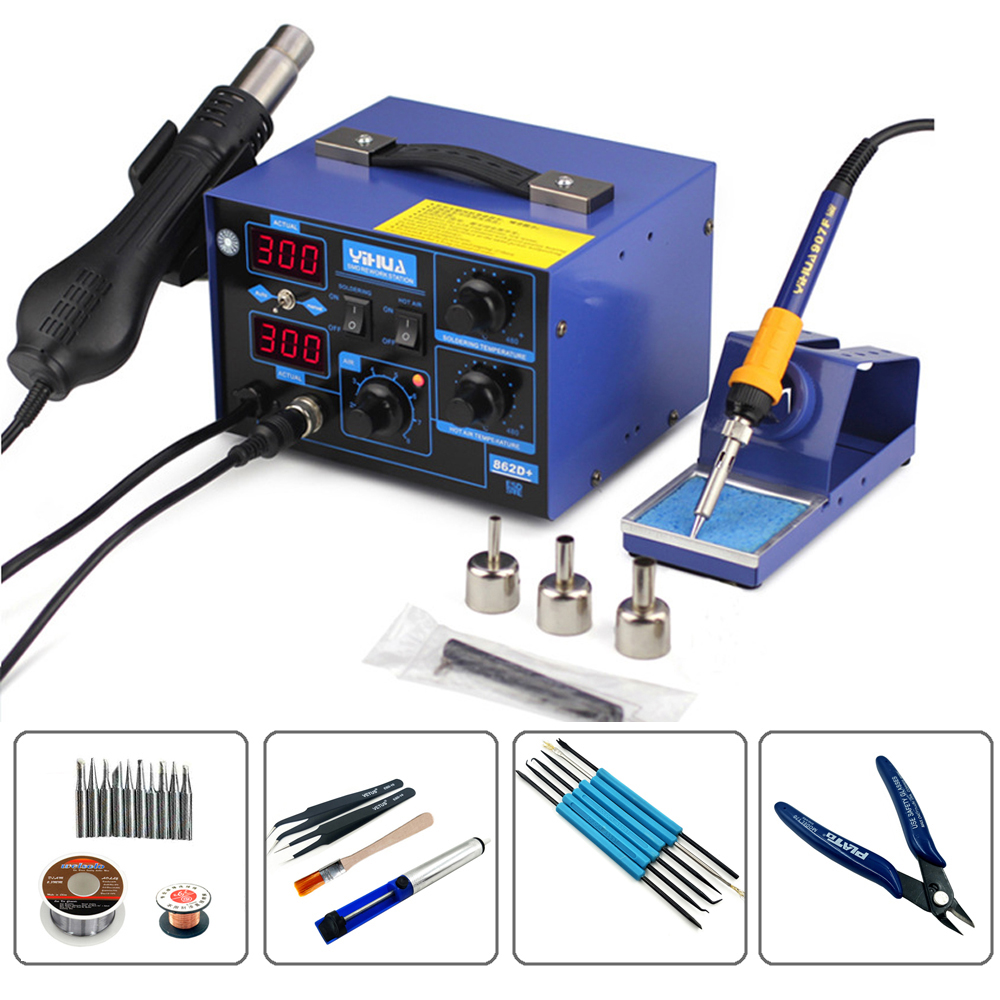 YIHUA 862D+ Constant Temperature Antistatic Solder Station Soldering Iron Phone Repair Hot Air Gun Welding Desoldering Taiwan yihua 862d 2 in 1 esd hot air gun soldering station welding solder iron for ic smd desoldering