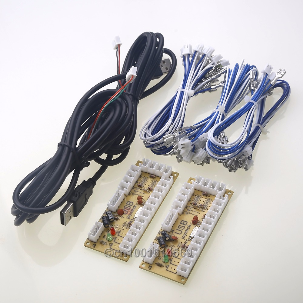 2 Players Zero Delay USB Encoder PC Board To HAPP Style Joystick Arcade Buttons for MAME