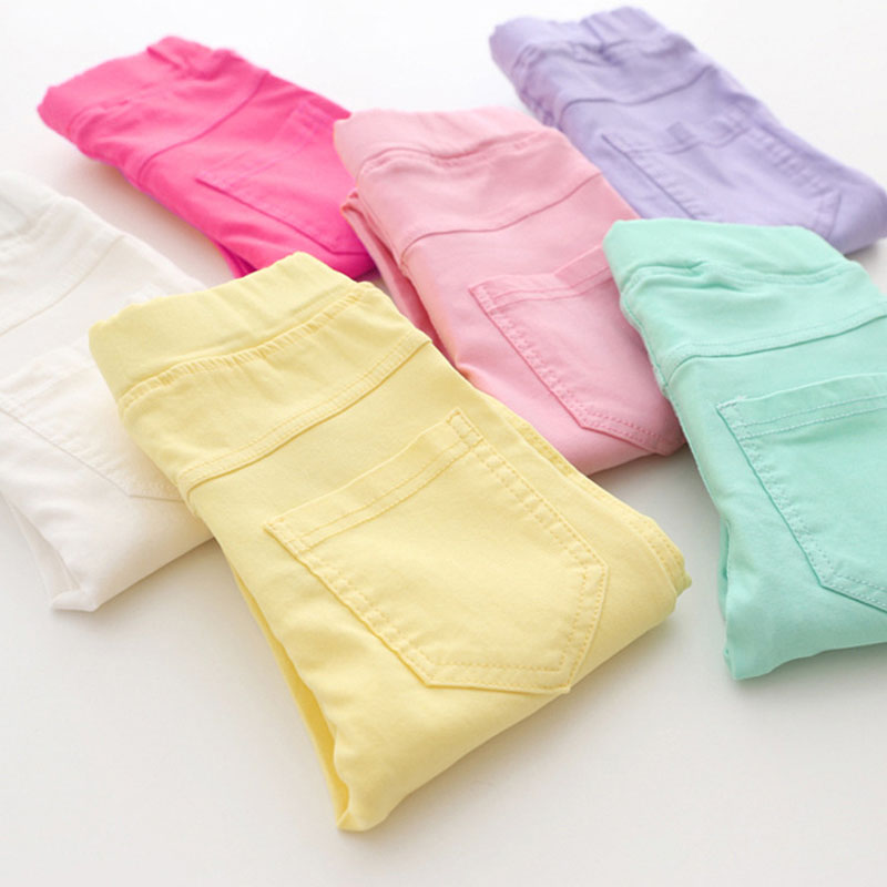 Fashion Elestic Waist Candy Color Skinny Children Pants Girl Pencil Casual Long Pants Girls Pants Girls leggings