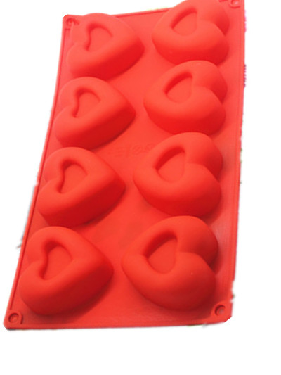 High temperature resistance of 8 continuous core heart silicone soap mold Hand made pudding silica gel cake molds in Soap Molds from Home Garden