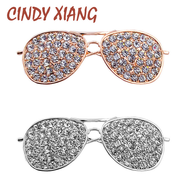 CINDY XIANG 2 Colors Choose Full Rhinestone Sunglasses Brooches for Women Pins a