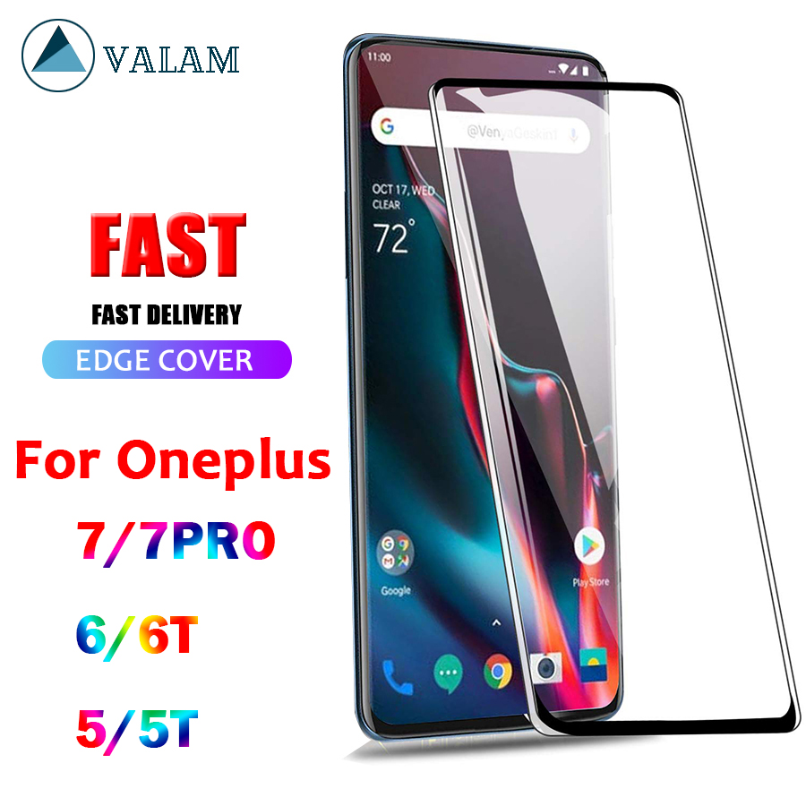 VALAM Tempered Glass For Oneplus 7 Pro 6 6T 5T 5 Screen Protector Full Cover Glass Protective Glass For Onplus 7Pro 7 Pro Glass