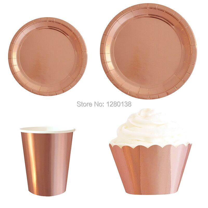 Rose Gold Foil Disposable Paper Plates Cups Cupcake