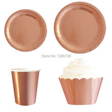 ФОТО rose gold foil disposable paper plates cups cupcake wrappers wedding gender reveal party tableware set decor supplies