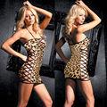 Lencería Sexy Halter Leopard Hollow cut Mini vestido de la ropa de dormir + G-String S68817