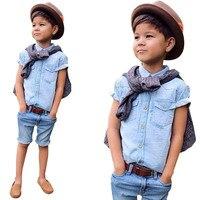 Комплект летней одежды для мальчиков модный комплект детской одежды из 2 предметов джинсовые топы и джинсовые шорты одежда для маленьких ма...
