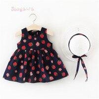Летнее платье для маленьких девочек без рукавов с принтом клубники вечерние принцессы Sunwear Младенцы Плиссированные платье-пачка Vestidos S6729