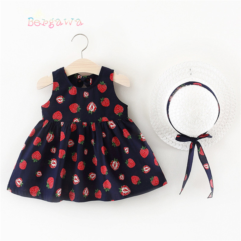 Summer Baby Girls Kids Children Sleeveless Printed Strawberry Party Princess Sunwear Infants Pleated Tutu Dress Vestidos S6729