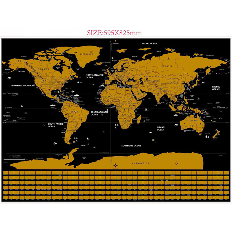 Deluxe Erase Black World Map Room Home Decoration Wall Stickers Scratch Off World Map Personalized Travel Scratch
