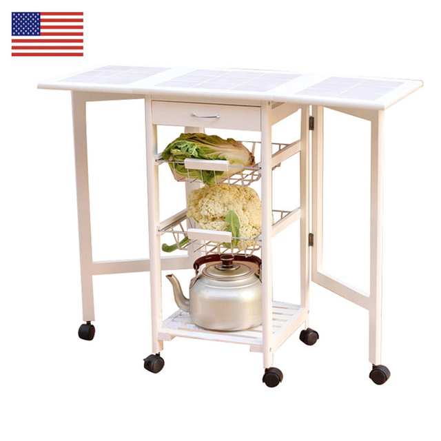 Folding Kitchen Cart Modern Sets Us 89 99 Islands Portable Rolling Tile Top Drop Leaf Storage Trolley Furniture Trolleys In