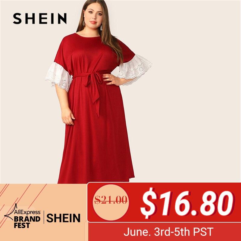 SHEIN плюс размер abaya Бургундия Контрастная вышивка ушко манжеты поясом Макси платье для женщин Весна Лето офисные женские элегантные платья