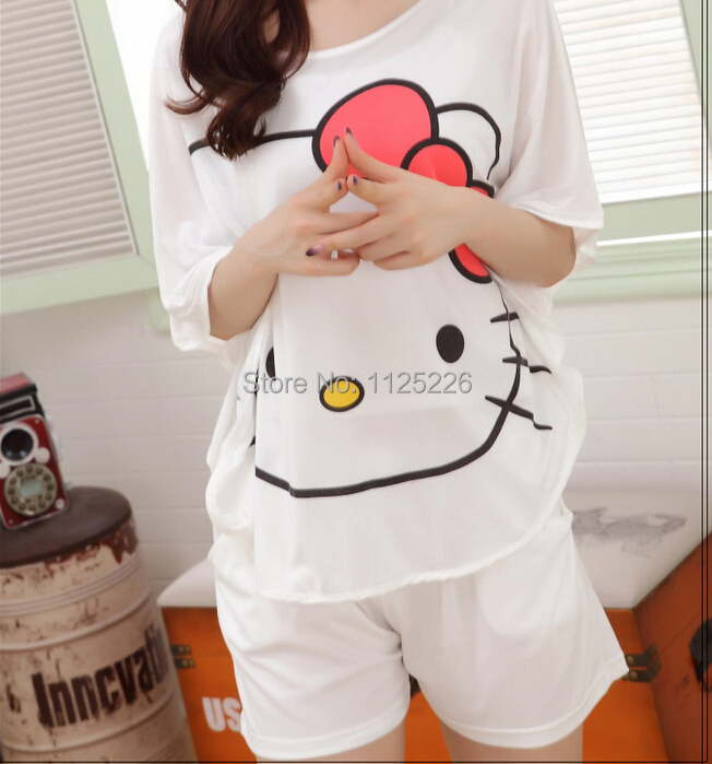 ae773e6e0 Ladies thin cartoon home wear summer bats T shirt shorts pajamas night  clothes lounge wear home clothes cute cat sleepwear-in Pajama Sets from  Underwear ...