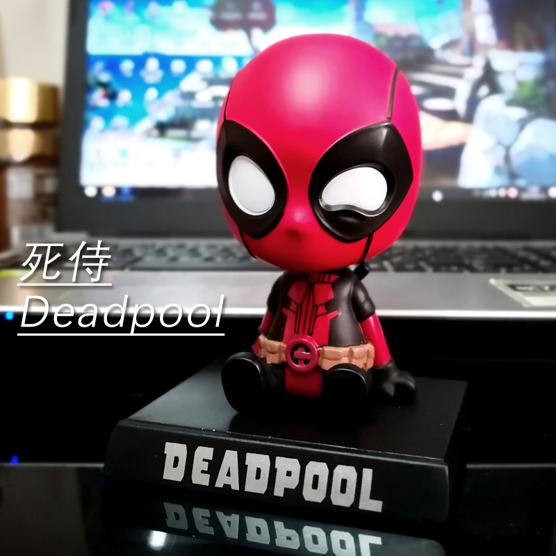 Image 3 - Car decoration Avengers Defensive shaking head statue doll decoration solar car interior home decoration car accessories gift-in Ornaments from Automobiles & Motorcycles