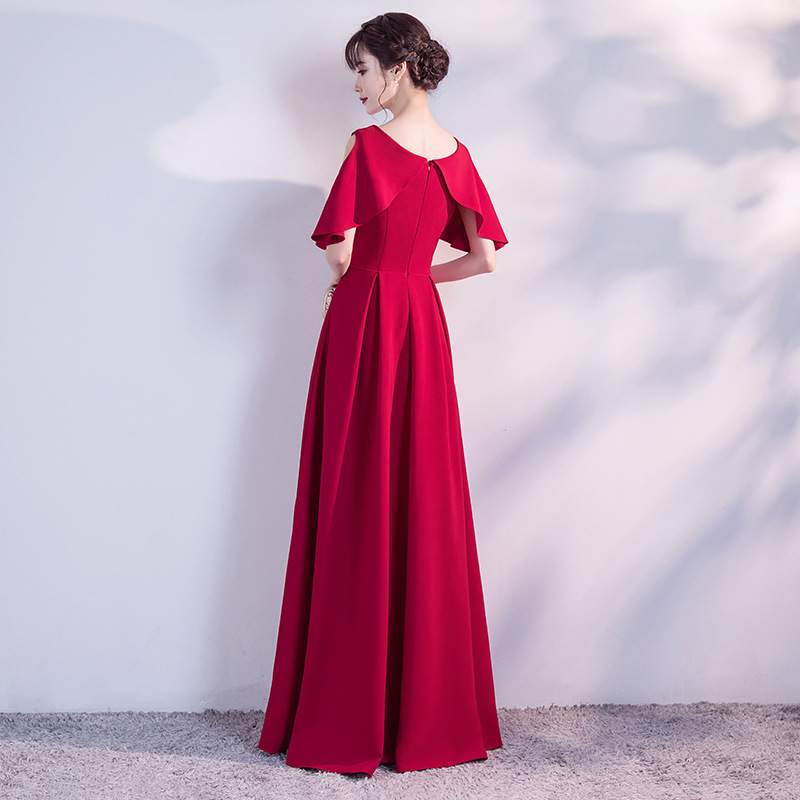 a3294948e103 Elegant Burgundy Long Evening Dress Simple Short-sleeve Hollow Out Ruffle  Evening Party Dress Plus Size Red Formal Gowns 2019