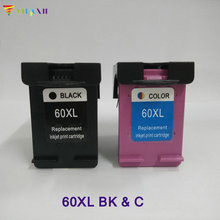 2 PK Black & Color Refilled Ink Cartridges CC641WN CC644WN For HP 60 XL free shipping 2016 new [hisaint]2 pk jf333 color ink cartridges for dell series all in one printers new listing