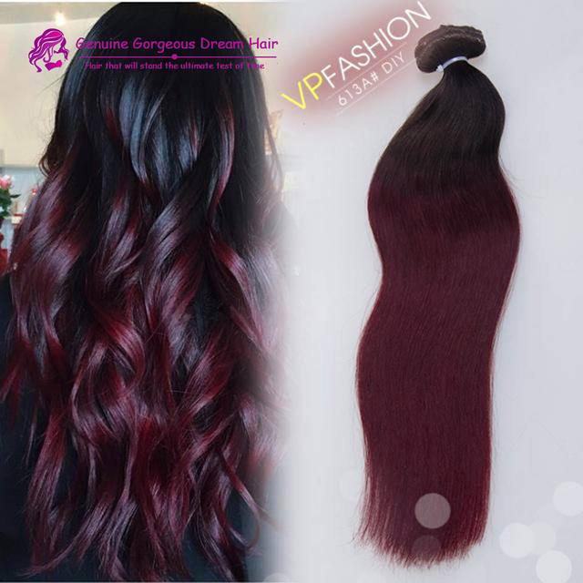 Ombre 1b / 99j cabelo vermelho clipe em remy brasileiro virgem extensões de cabelo clipe reta em extensões de cabelo humano para Chrimas