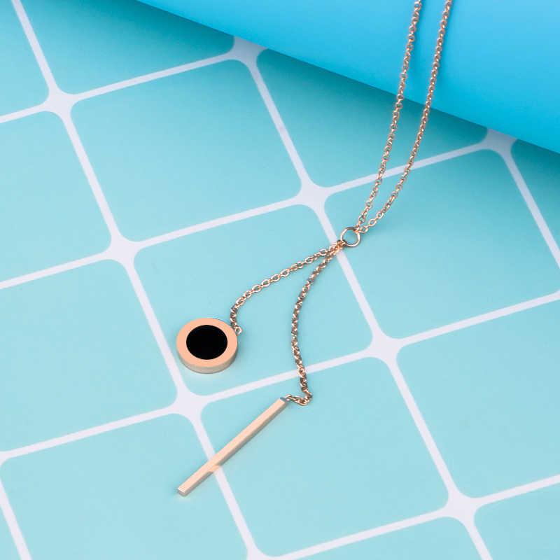 Olowu, цепочка из нержавеющей стали, длинное ожерелье, s & Кулоны, женская одежда, аксессуары, ожерелье, розовое золото, серебро, черное, круглое ожерелье