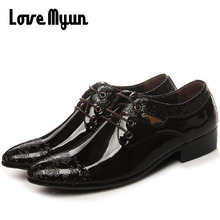 Mens fashion wedding shoes Pointed toe dress shoes mens patent leather shoes business shoes lace up flats size 38-44 AB-12
