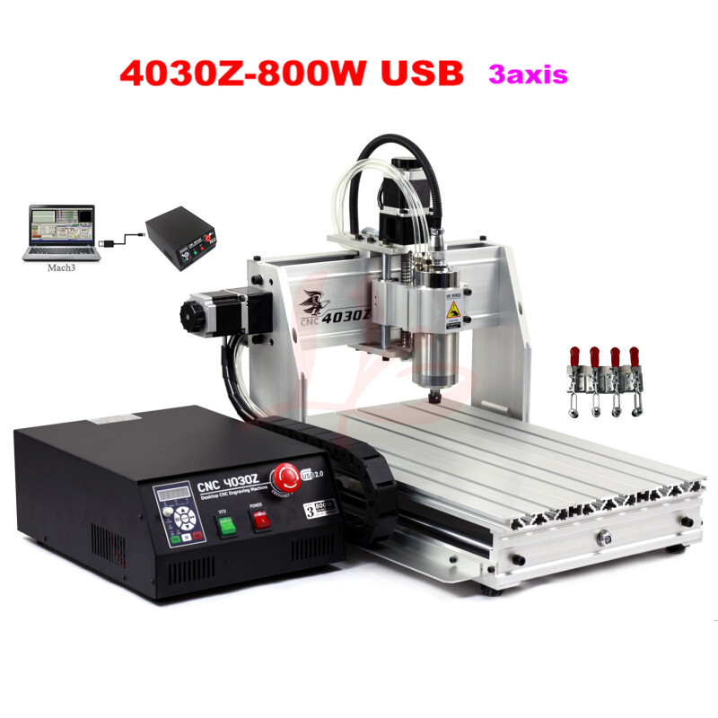 2017 New 4030Z-800W USB 3axis mini cnc router wood metal stone cutting machine with USB port eur free tax cnc router 4030z d300 3axis wood cnc milling machine for cutting wood acrylics mdf with usb parallel adapter