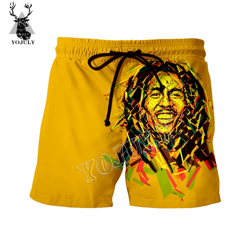 YOJULY Rock Singer Bob Marley 3D Print Funny Fashion Casual Short Pants Summer Men Board Shorts Unisex Swimming Shorts DK19