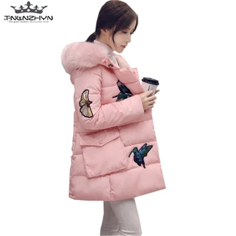 tnlnzhyn 2017 New Winter Maternity Women Coat Faux Fur Collar Slim Hooded Down Cotton Jacket Coat Thick Warm Cotton Jacket Y560