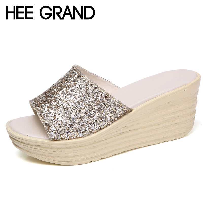 HEE GRAND 2018 Summer Bling Bling Platform Wedges Slippers Beach Creepers Slip On Shoes Woman Color Gold Sliver XWZ4646 yeerfa 2017 wedges sandals beach flowers flip flops slip on flats platform shoes woman casual creepers pearl slippers size 35 41