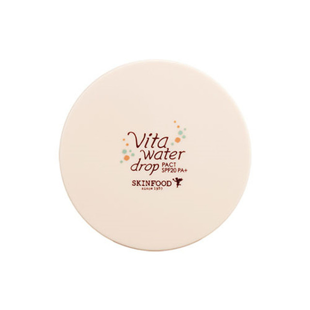 SKINFOOD Vita Water Drop Pact 14g (SPF20 PA+) Korea Makeup Cosmetics Face Powder Pact Makeup Waterproof Silky Finishing Powder