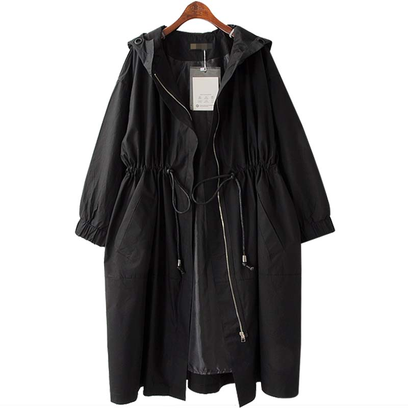 Fashion 2019 Spring Autumn New Plus size Long   Trench   Coat Women Casual Hooded Outerwear Womens Windbreakers Black Overcoat 4XL