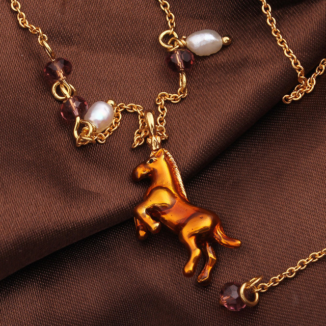 New Arrivals Enamel Glaze Fine Horse Simulated-pearl Necklace Clavicle Chain Gold Plated Women Jewelry Free Shipping