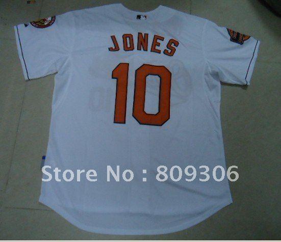 Wholesale 2012 style Baltimore Orioles 10# Adam Jones white color BaseBall Jersey size:48~56