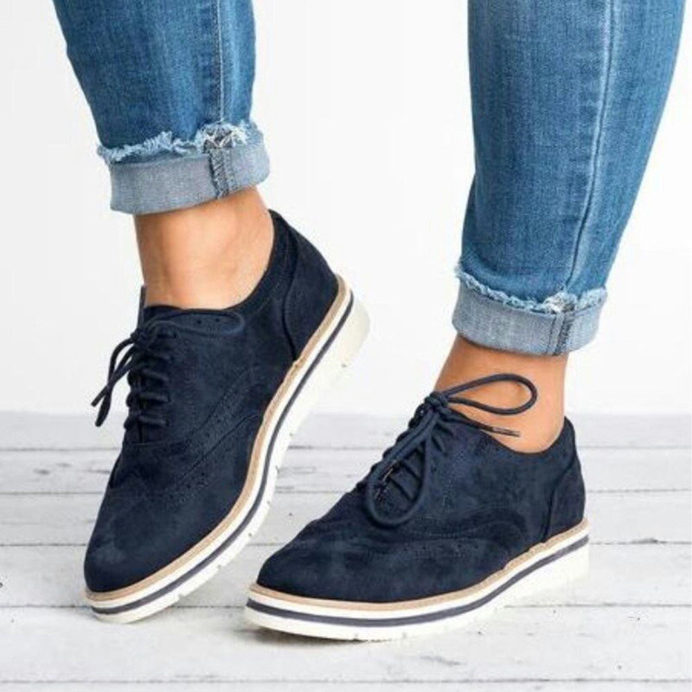 Plus Size 35-43 Women Flat Hollow Platform Shoes Oxfords British Style Ladies Creepers Brogue Shoe For Female Lace Up Footwear 3