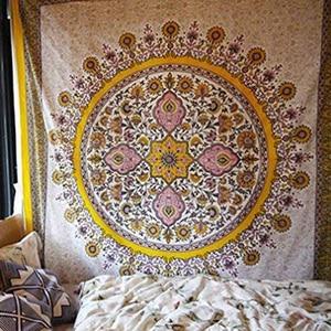 Image 2 - פרחוני מדליון שטיח זהב הודי ראש המיטה קיר תליית בית תפאורה המנדלה שטיח שמיימי מקרמה קיר תליית דקור