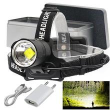 LED headlight high lumen XHP70.2 Zoom powerful head torch led head lamp lantern light fishing lampe frontale USB headlamp 18650
