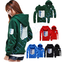Free Shipping Attack On Titan Cosplay Hoodie Scouting Legion Hooded Sweater New Stlye 5 Color Green