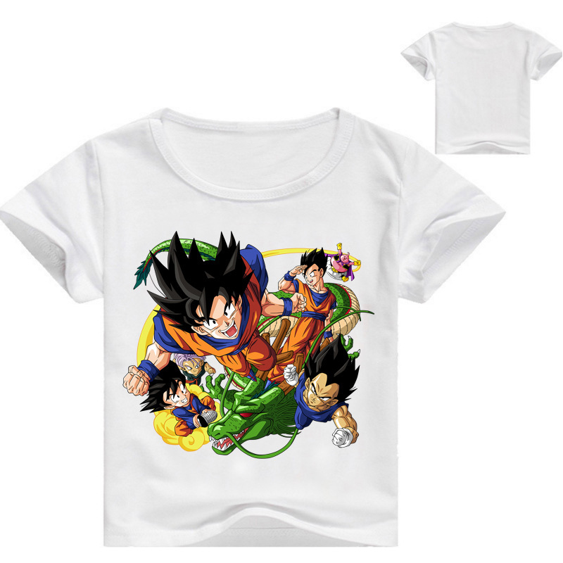 2018 Boy Girls Summer Cotton T-shirt Children 3D Anime Dragon Ball Z Print Tee Tops Clothes Kids Clothing Baby Goku Tshirt