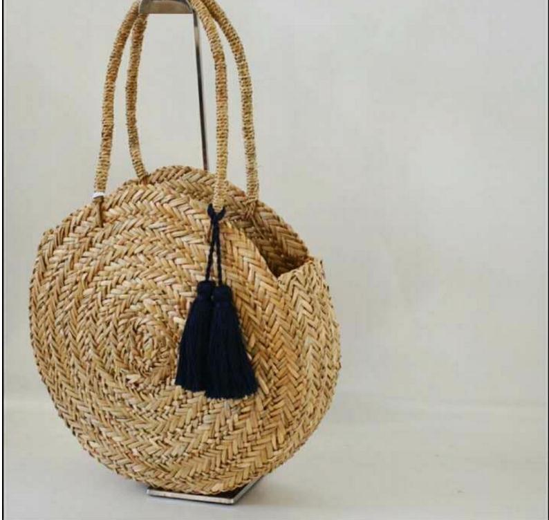 Women Handbag Summer Beach Tote Circle Bag Handmade Rattan woven Round handbag Vintage Retro Straw Knitted Messenger big Bag цена