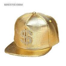 HANGYUNXUANHAO Hip Hop American PU Leather Baseball Cap for Men Fashion Gold Summer Sun Hats New Women Flat Hat Accessories
