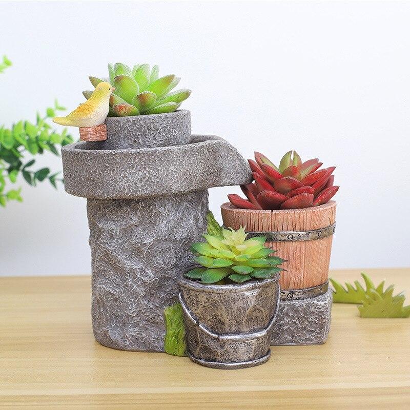 Creative Retro Resin Craft Succulent Flower Planter Flowerpot Mini Bonsai Cactus Desktop Ornaments Balcony Home Garden Decor Hot in Flower Pots Planters from Home Garden