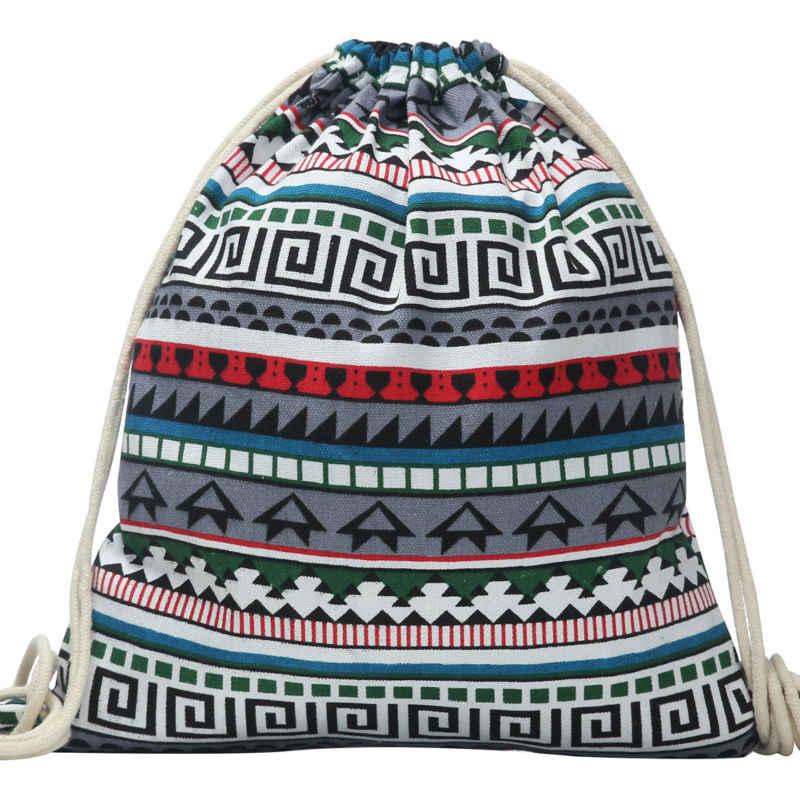 Национальный Для женщин рюкзака парусиновной завязки новые Винтаж Колледж студентам школьная сумка на шнурках для девочек Mochila Feminina Sack; сумка