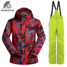 2016 NEW Winter Snowboard Ski Clothing Set 2PCS/Set Jacket Pants Windproof Waterproof Breathable Skiing Jackets Men