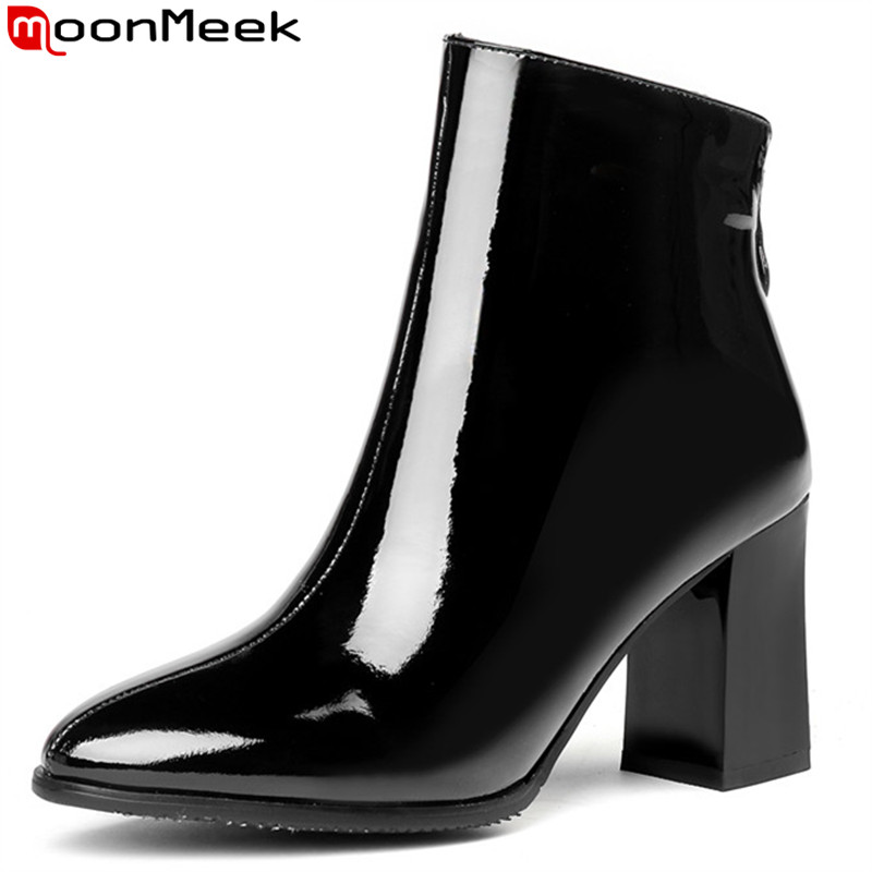 MoonMeek 2018 fashion autumn winter boots women round toe genuine leather boots thick high heels ankle boots black big size big size 34 42 high quality genuine leather leisure low heels ankle boots fashion cowhide round toe platform women boots
