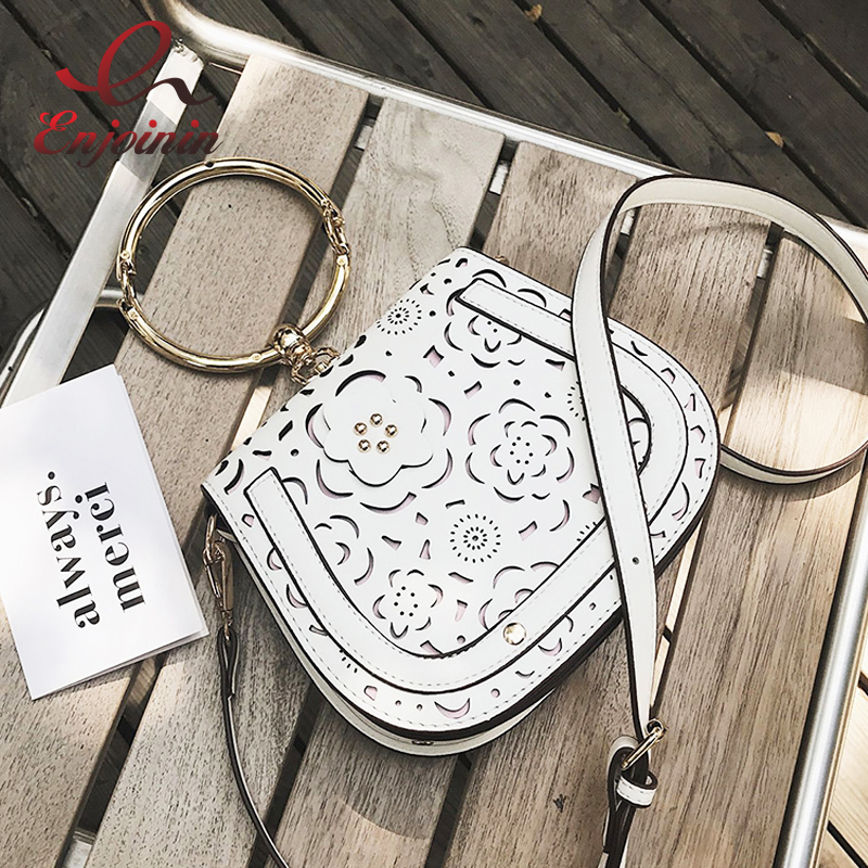 New style metal ring hollow flower fashion saddle bag casual ladies totes shoulder bag handbag crossbody messenger bag 3 colors  new arrival fashion color rivet metal decoration female totes shoulder bag handbag women s crossbody messenger bag 2 colors