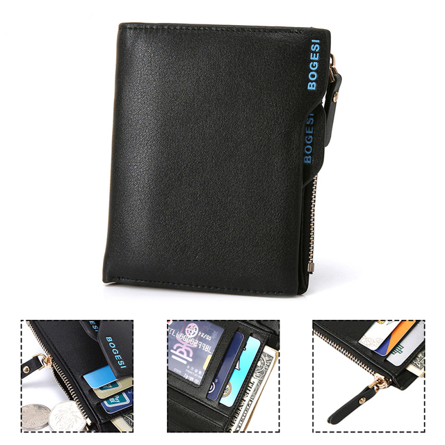 Bogesi Men Short Leather Solid Wallets Male Black Money Purses with Zipper 4