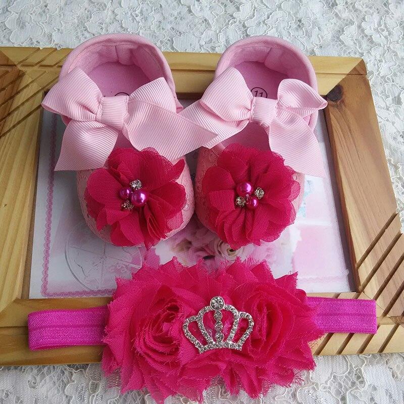 Baby baptism girl shoe,Infant Rhinestone Crib shoes baby girls Headband set,girls flowers bow baby toddler shoes,baby moccasins