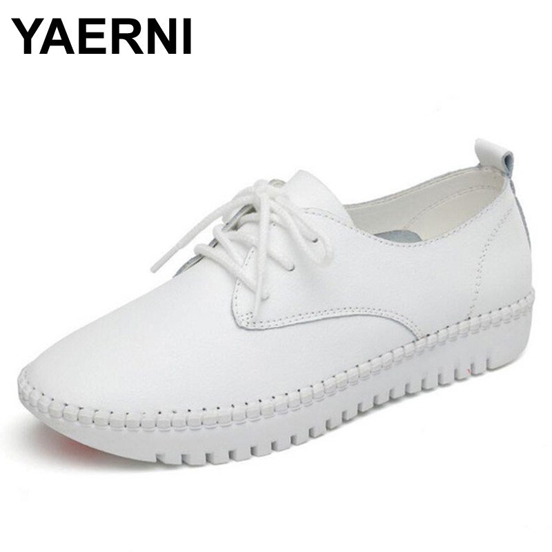 YAERNI  Leather Flat Shoes For Women 2017 Spring Summer Fashion Casual White Loafers Shoes Round Toe Lace-up Muffin Female Shoes 2016 spring summer new old leather lace round japanese casual shoes retro fashion leather shoes