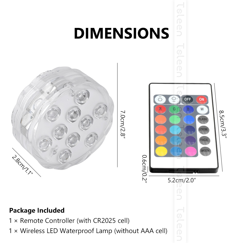 Lights & Lighting 10leds Rgb Led Underwater Light Pond Submersible Ip68 Waterproof Swimming Pool Light Battery Operated For Wedding Party Decora Led Underwater Lights