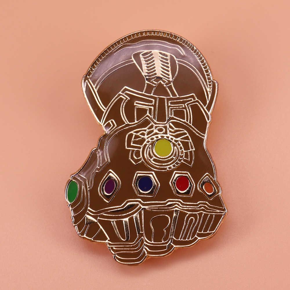 Thanos Tak Terbatas Tantangan Enamel Pin Infinity Permata Bros Pertempuran Perhiasan Penggemar Marvel Hadiah Pria Jaket Aksesoris Ransel