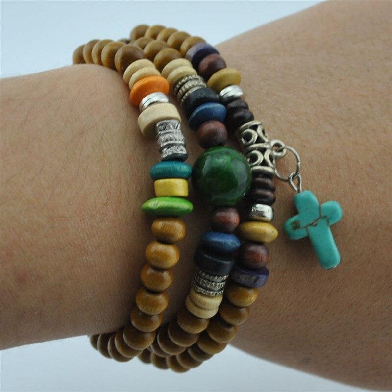 Fashion Adjustable Yellow Wooden Bead Bracelet Natural Stone Buddha Bracelet Retro Cross Pendant Men / Women Charm Jewelry